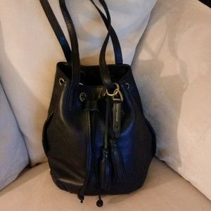 Lucky Brand Black Leather drawstring satchel